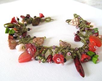 Red Poppies Bead Fringe Bracelet, Botanical Garden Bracelet, Bohemian Flower Jewelry, Glass Flowers and Leaves, Beadwork Fringe Bracelet