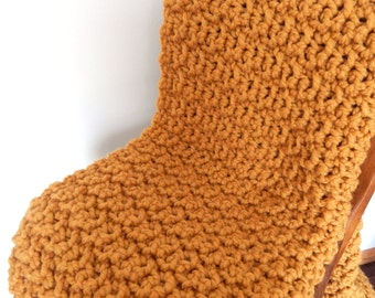 Chunky Crochet Knit Blanket Throw//Wool Afghan//Mustard Gold Color Extra Chunky and Squishy