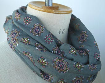 printed handcrafted scarf, fabric infinity scarf, army green scarf, fabric scarf with print, infinity with medallions, womens scarves