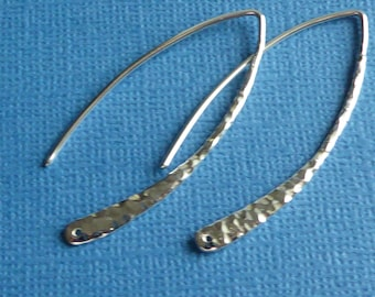 Long Hammered Sterling Silver Ear wires ~ Hammered Ear Hooks ~ Marquis Shape Ear Hooks ~ One Pair ~ 42mm long