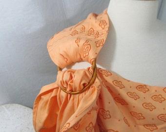 Ring Sling Organic Cotton Wrap Conversion WCRS - Woven Ring Sling - Storchenwiege Louise Apricot - DVD/ baby shower gift, toddler carrier