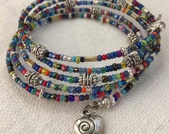Vintage and New Silver and Multi-colored Seed Bead Memory Bracelet, Contemporary Bracelet, Silver Bracelet, Heart Bracelet (M-31)