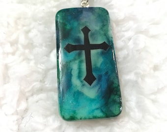 Painted Cross Domino Necklace