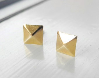 Square Earring Studs, Golden Brass Pyramid Earrings, Square Jewelry, Tiny Studs, Sterling Silver Studs, Geometric Hypoallergenic Jewelry