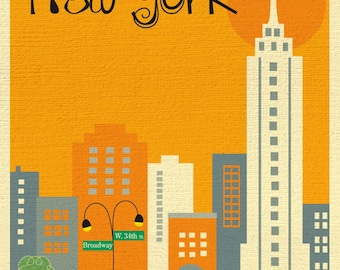 SALE New York City 8x10 Skyline Print, NYC Print, New York City Nursery Art, NYC Vertical Art Orange style -  E8-O-NY3 orange