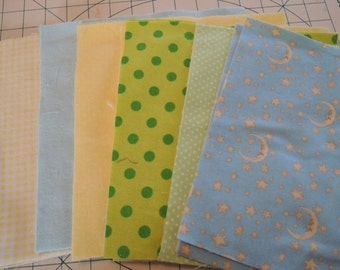 SALE, Fabric Grab Bag, All New 9x9 Square Flannel Moon and Mixed Fabrics, 20 pieces, Bag 104