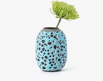 Modern Ceramic Aqua Lava Oval Vase