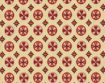 1 Yard CHICOPEE Circle Cross PWDS030 Red Pink Denyse Schmidt Free Spirit Quilting Sewing Fabric