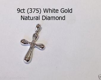 9ct 375 White Gold Natural Round Brilliant Cut Diamond Crucifix Cross Pendant