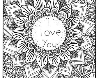 I LOVE YOU Coloring Page Coloring Book Pages Printable Adult
