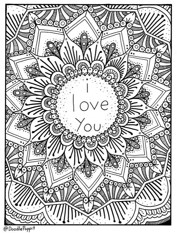 Clean image with i love you coloring pages printable