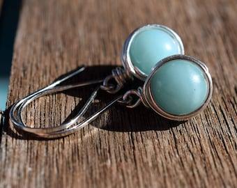 Amazonite Earrings on Sterling Silver, Wire Wrapped Earrings, Warm Blue Stone Earrings, Turquoise Blue earrings, Summer Blue, Sky Blue