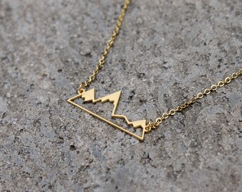 Mountain Silhouette Necklace // 24K Gold or Silver // Minimal Necklace // Alps Necklace // Geometric Necklace // British Columbia // Travel