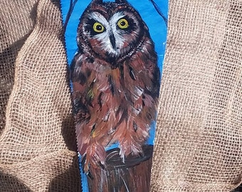 Hand painted owl on hand saw