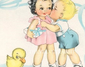 Instant Digital download.Little boy kissing little girl.Vintage image. Rare.frame, gift price  tags,,use in decoupage, collage,scrapbooks