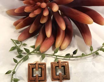 Solid Copper square shaped 3D design pierced Earrings