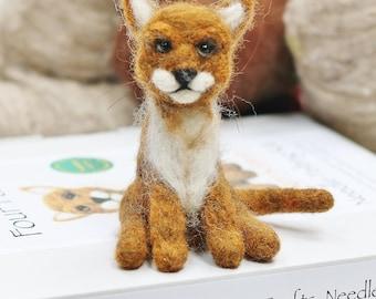 Cat needle felting kit, Ginger cat felting kit, Cat needle felting kit, Cat felting tutorial, Felt craft kit, needle felted cat