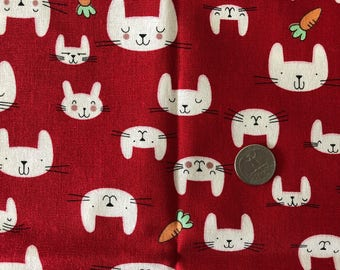 JAPANESE Cutest Bunnies Print Fabric 1FQ Red