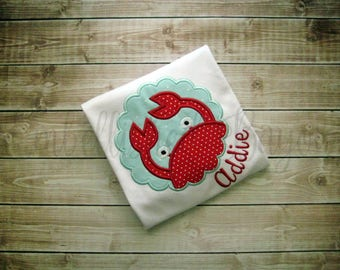 Crab with Name Applique T-shirt or Onesie Personalized for Girls or Boys