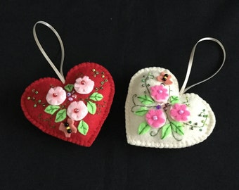 Mother's Day gifts, heart Christmas ornament, felt heart ornaments, valentines gifts, valentines decorations, felt ornaments