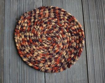 Homespun Orange/Tan/Black Hot Pad
