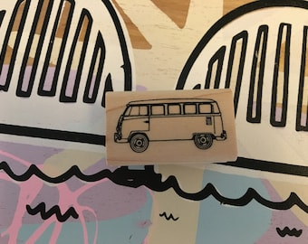 Darling VW Bus Van Rubber Stamp