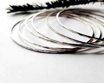 Set of 6 Solid Sterling Silver Stacking Bracelet, Hammered Skinny Bangles For Women - Prisms