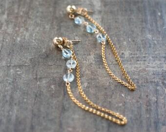 Aquamarine Chain Earrings - March Birthstone