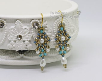PDF Tutorial - Dhara Earrings Digital Beading Pattern Beadweaving Instruction Instant Download