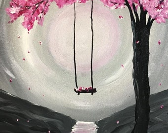 Pink Tree with Swing Painting