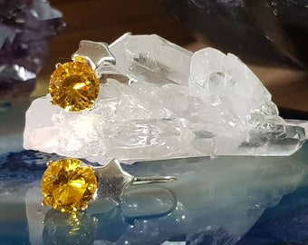Silver Earrings with Citrine Zirconita