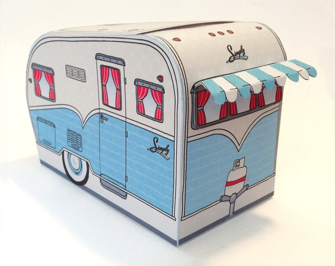 1950s RV Camper Trailer box, Caravan Box, cupcake box, gift card box, gift box, Blue - Instant Download D.I.Y. Printable PDF Kit
