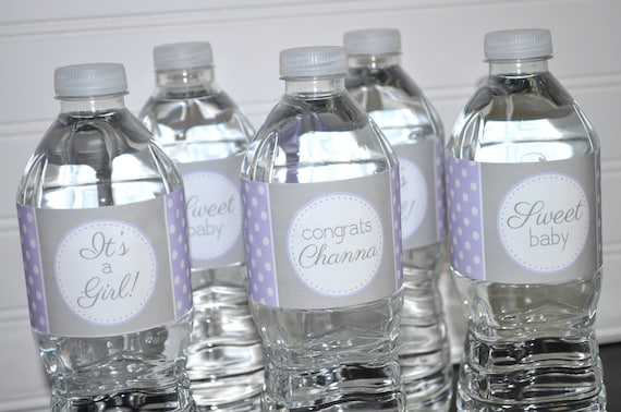 Girls Baby Shower Water Bottle Labels Its A Girl Baby
