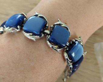 Blue Thermoset Plastic Vintage Bracelet