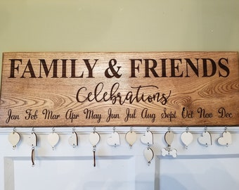 Family Birthday Board. Celebrations Board. Family & Friends Celebrations Board. Engraved Birthday Sign. Anniversary Board. Gifts for her