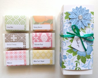Thank You Gift, Hostess Gift, Gift for Her, Lovely Gift Set, Handcrafted Soap, Sample Soap Gift Box, You choose the soap you want.