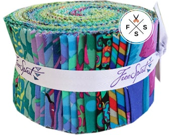 "Kaffe Fassett Collective Island Design Roll 2.5"" Precut Fabric Quilting Cotton Strips Free Spirit FB3DRGP.ISLAN"