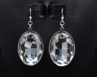 30x22mm Swarovski Faceted Oval Earrings - Many Different Colors - SW8FP