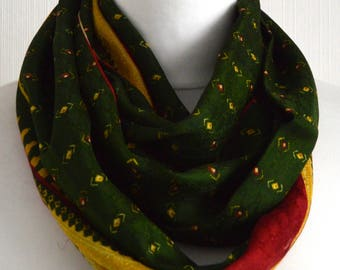 Red Green Yellow Pure Sari Silk Infinity Scarf - Eternity Scarf - Loop Scarf - Circle Scarf - Pure Silk Scarf - Boho Chic - CMCISE410