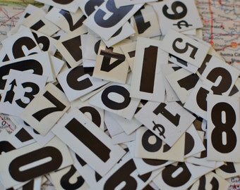 50 Black White Plastic Advertising Crafting Assorted Numbers