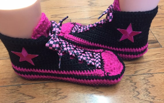 converse 9 pink 265 Womens converse High crocheted 7 shoe slippers crochet tennis slippers crocheted black sneaker converse top slippers YY7wgfxqT