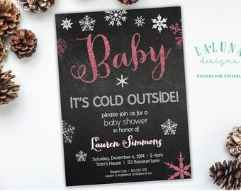 Winter Baby Shower Invitation, Baby it's cold outside, Snowflake Baby Shower Invite, Snowflake Baby Shower, DIY Printable