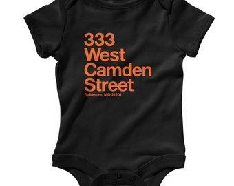 Baby Baltimore Baseball Stadium Romper - Infant One Piece, Creeper - NB 6m 12m 18m 24m - B'more, Fan, Sports, Gift - 4 Colors