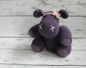Henrietta the Hippo, Crochet Hippo Stuffed Animal, Purple Hippo Amigurumi, Plush Animal, MADE TO ORDER