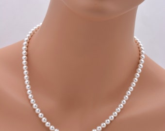 Pearl Necklace, Pearl Bridesmaid Necklace, Classic Pearl Necklace, Pearl Strand Necklace, White or Ivory Pearl Necklace, 6mm Pearl 0259