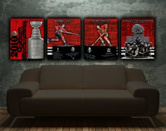 Chicago Blackhawks Single Canvas, art Print, Stanley Cup Champions, Wall art, Blackhawks Canvas, Chicago Blackhawks canvas