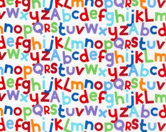 Novelty - White Alphabet Letters from Timeless Treasures