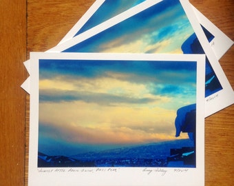 Sunset After April Snow, Pikes Peak, Photo Art Card