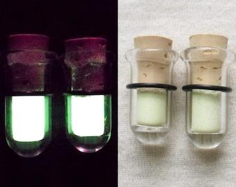 Glow In The Dark Test Tube Plugs 0g gauged ear plugs earrings for stretched piercings