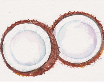 Couple of Coconuts watercolor painting original, 5 x 7, original watercolor art, pair of coconuts, kitchen decor, tropical fruit